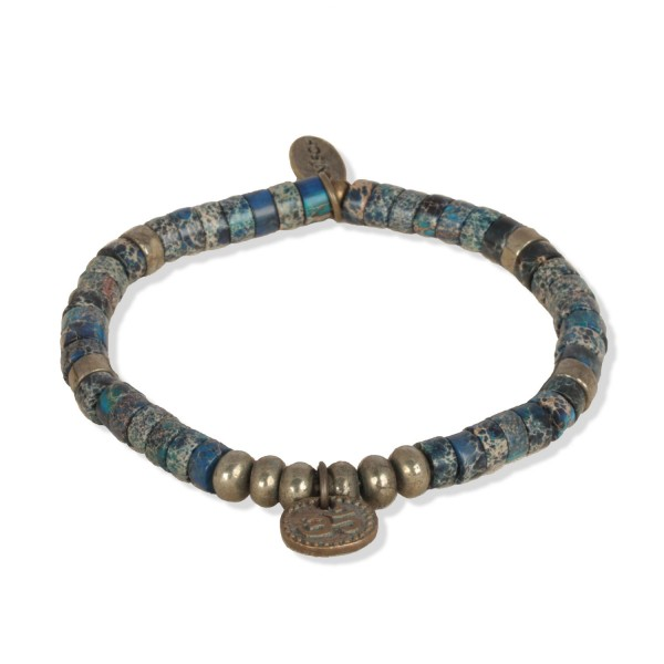 Azurit Beads - Indian Symbols Männer-Armband mit Pyrit