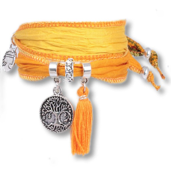 Yellow Lemon - Tree of Life Symbolsarmband aus indischen Saris