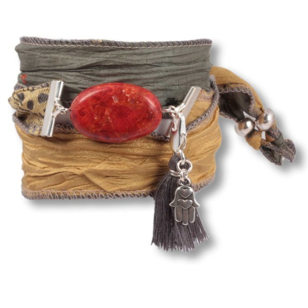 Coral Olive - Earth Stone Armband aus indischen Saris