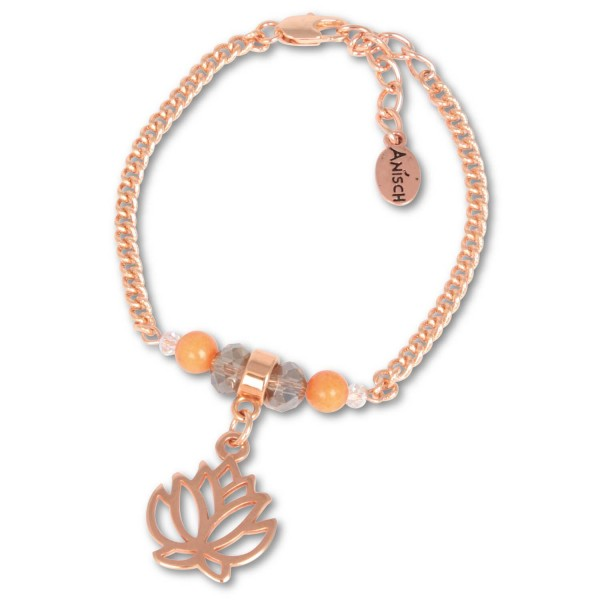 Rosègold Lotus - Armband mit Carneol