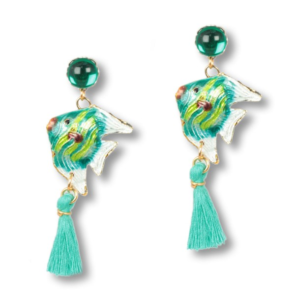 Seagrass Green Cloisonné Fish - Ocean Daughters Ohrringe