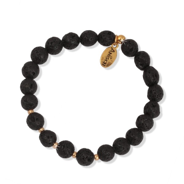 Shiny Gold - Black Lava Armband, 8 mm Beads