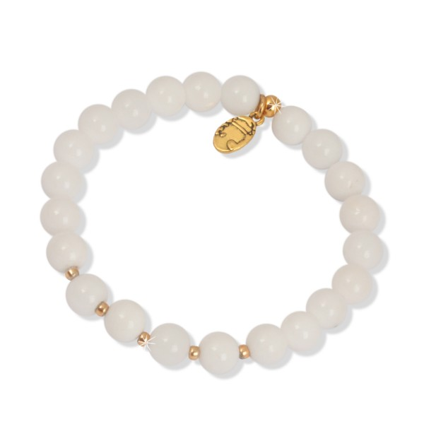 Shiny Gold - White Jade Armband, 8 mm Beads