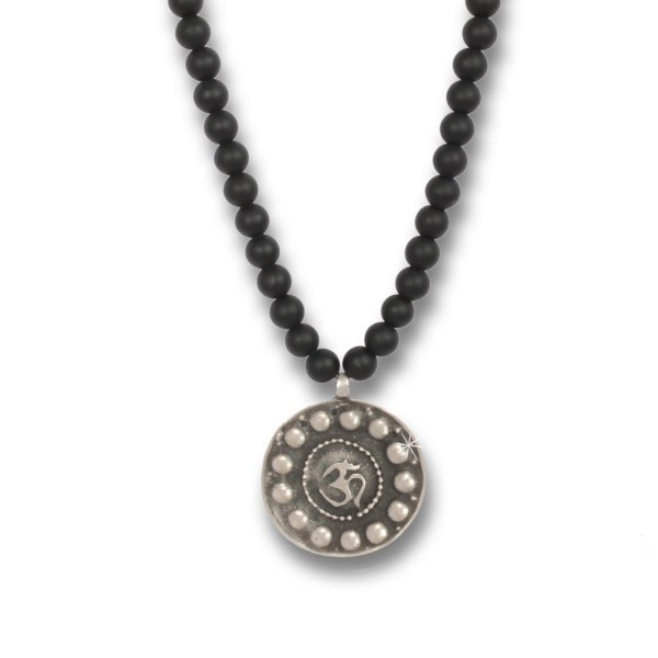 Antique Silver Om Coin - Indian Symbols Onyx-Kette für Herren, 80 cm