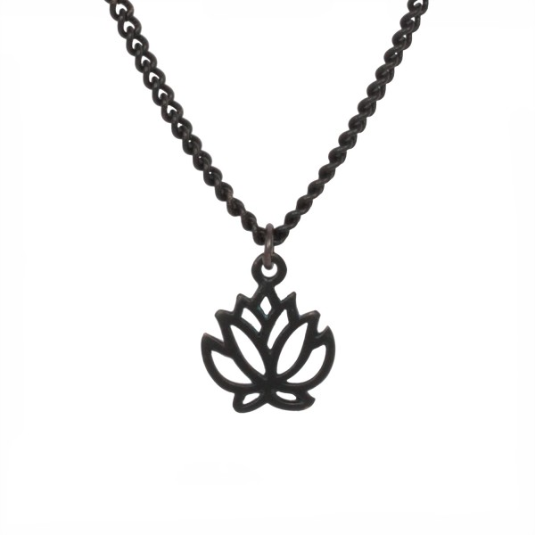 Black Metal - Lotus Talisman Kette