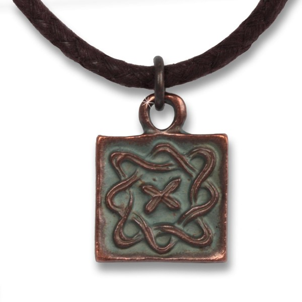 Infinity Square - Indian Symbols Herren-Kette Antique Copper aus Baumwolle, 54 cm lang