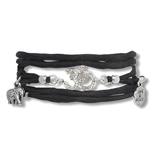 Black Open your mind - Love & Peace Armband aus rolliertem Seidenband