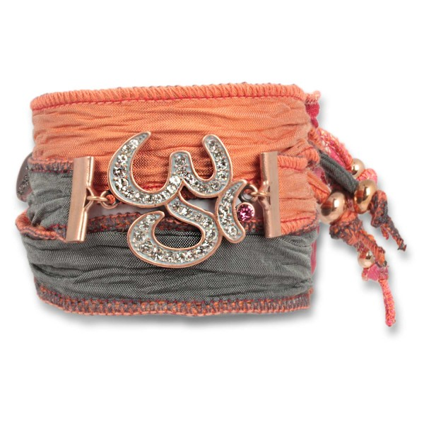 Rusty Orange - Radiant Om Talismanarmband aus indischen Saris