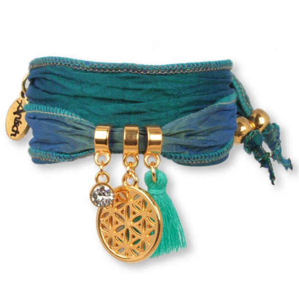 Teal Green Flower of Life - Symbol Armband aus indischen Saris
