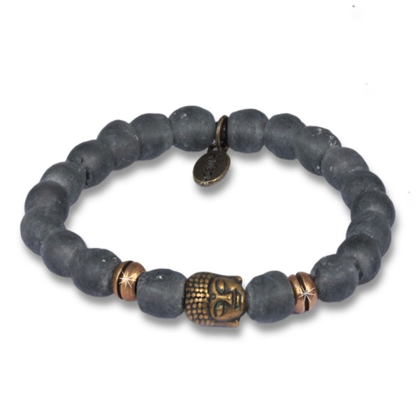 Anthrazit - Krobo Beads Armband Antik Bronze