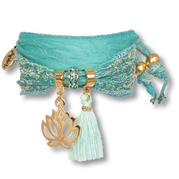 Golden Aqua - Lotus Purity Symbolarmband aus indischen Saris