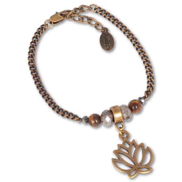 Antique Brass Lotus - Armband mit Tigerauge