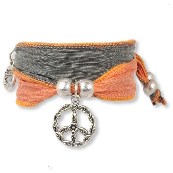 Tangerine Grey - Happy Symbol Wickelarmband
