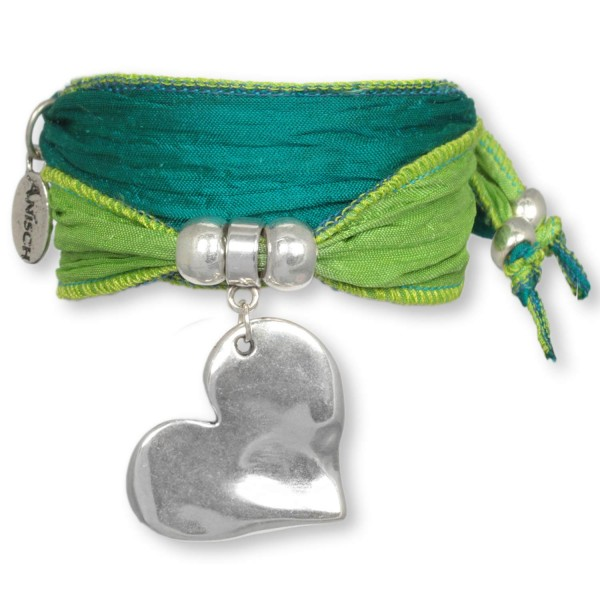 Seagrass Green Big Heart - Love Armband aus indischen Saris