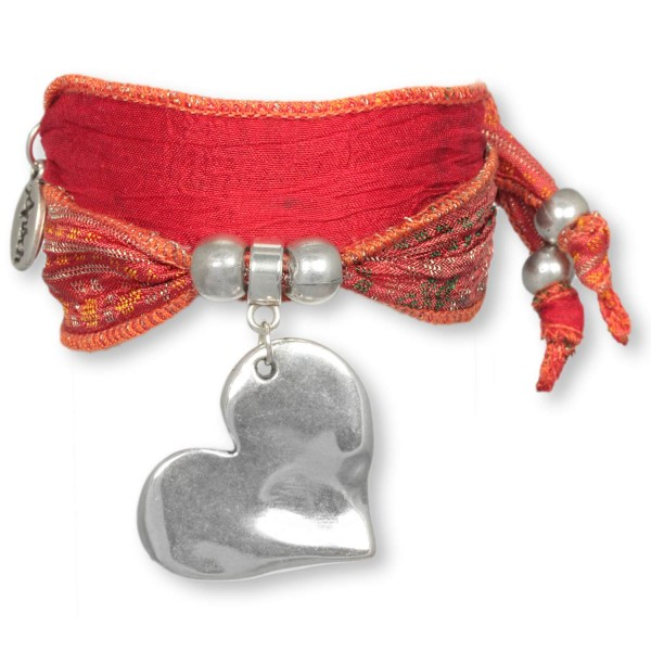 Indian Red Big Heart - Love Armband aus indischen Saris