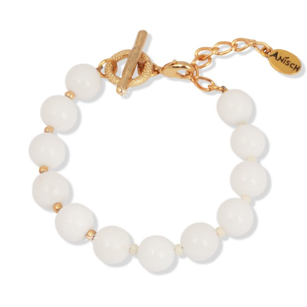 Shiny Gold - White Jade Armband, 10 mm Beads