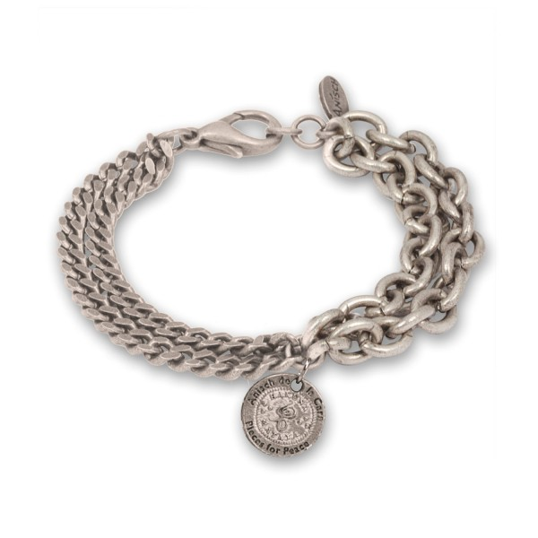 Double Chain - Hakuna Matata Herren-Armband Antique Silver