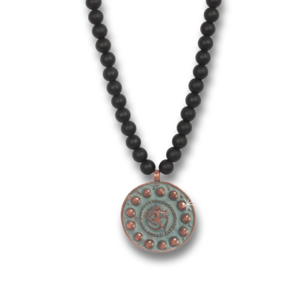 Copper Om Coin - Indian Symbols Onyx-Kette für Herren, 80 cm