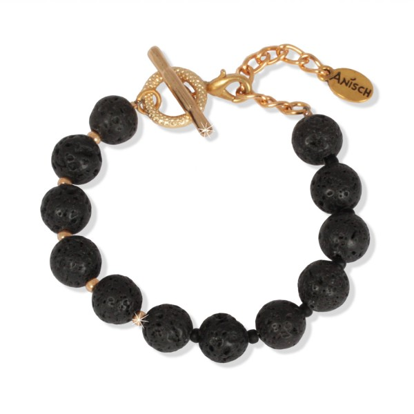 Shiny Gold - Black Lava Armband, 10 mm Beads